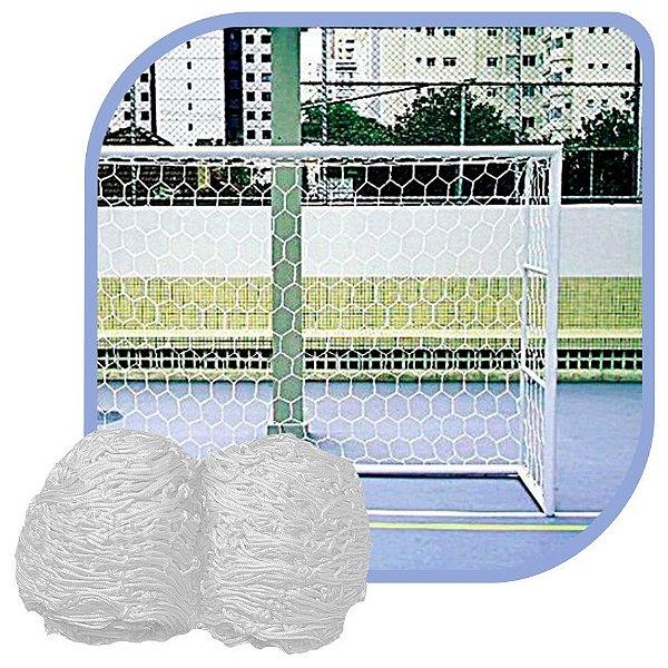 Par de Rede para Trave de Gol Futsal Colmeia Fio 4mm Seda Futebol de Salão