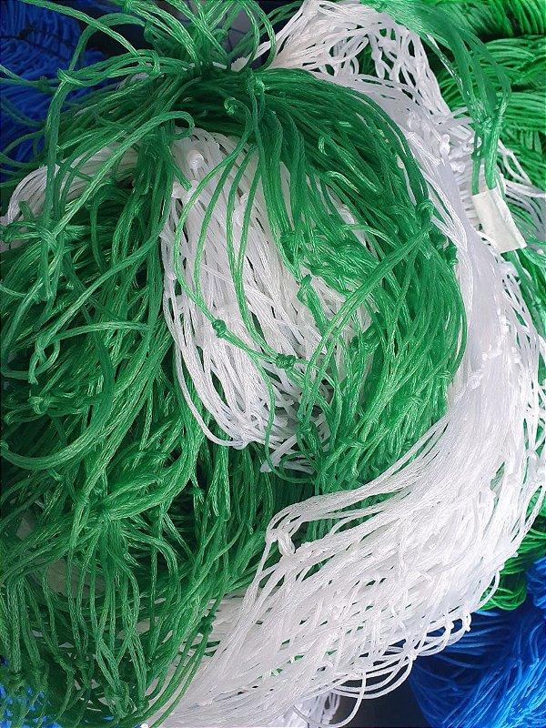 Rede de Proteção Esportiva 3x4m Fio 2 Malha 10cm Branca e Verde