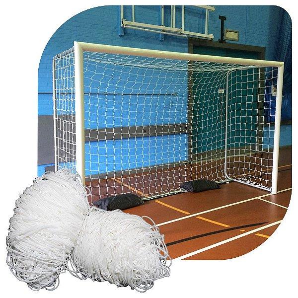 Par de Rede para Trave de Gol Futsal Fio 4mm Caixote Nylon Futebol de Salão