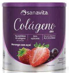 Colágeno skin sabor morango com açaí 300 gramas