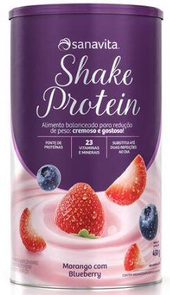 Shake protein sanavita sabor morango com blueberry 450 g