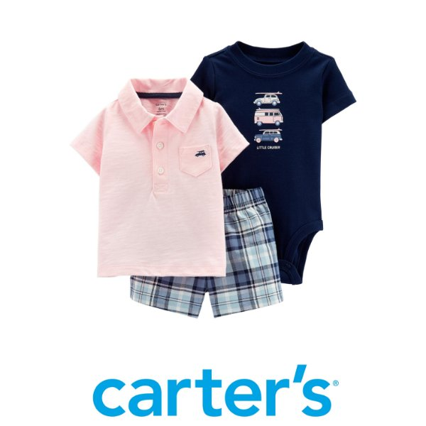 8ccb08db8ba2 Conjunto Camiseta Polo, Body e Bermuda Carrinhos Carter´s - Os ...