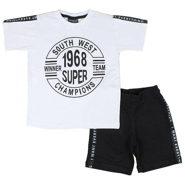 Conjunto Camiseta South West e Bermuda Moletinho Branco Vrasalon
