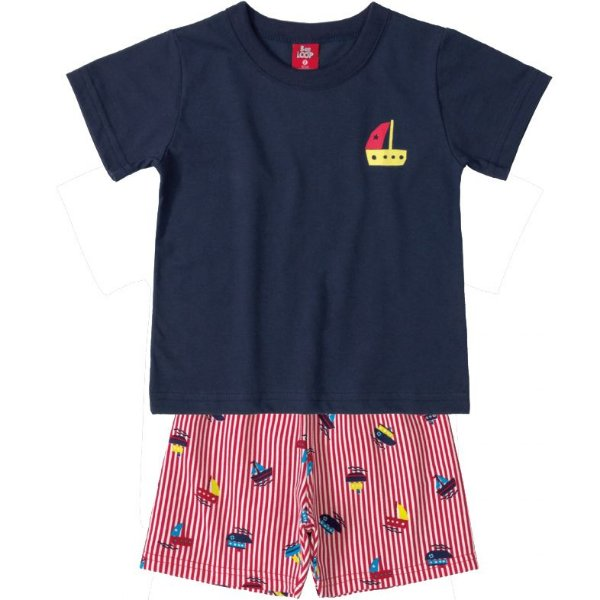 Conjunto Infantil Camiseta e Bermuda Moletinho Marinho Veleiro Bee Loop