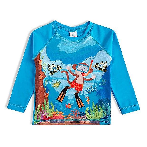Camiseta Praia Bebê Macaco Mergulhador Tip Top