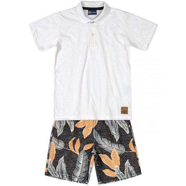 Conjunto Infantil Camiseta Polo e Bermuda em Moletinho Branca Quimby