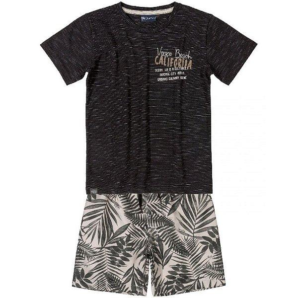 Conjunto Camiseta e Bermuda em Microfibra Preto Quimby