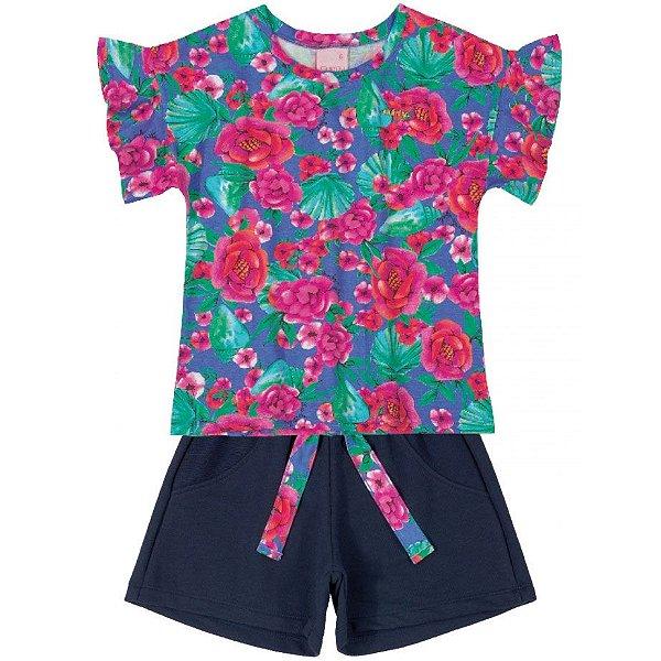 Conjunto Blusa Florida e Shorts em Moletom Pink e Marinho Quimby