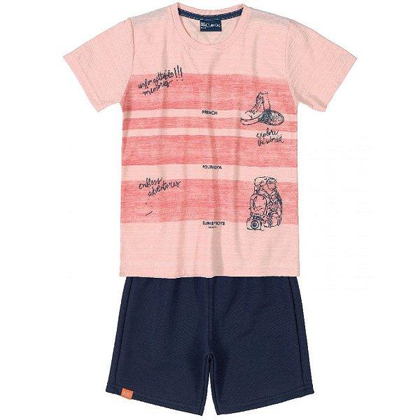 Conjunto Camiseta Flamê e Bermuda Moletom Rosa Quimby