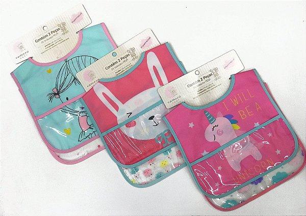 Kit babador impermiável infantil PEVA 2 peças - Camesa baby