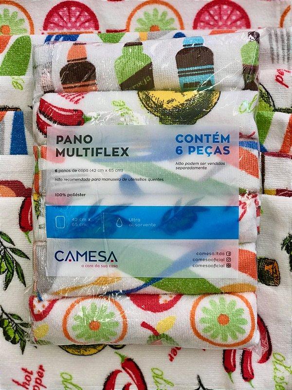 Kit 6 Pano de prato multiflex ultra absorvente  - Camesa