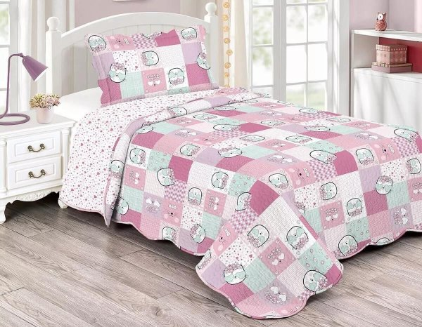 Colcha Matelasse Solteiro Infantil Patchwork Kitty - Camesa