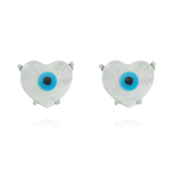 Brinco Olho Grego Formato Coração Pequeno Ródio Branco