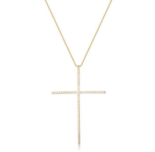 Colar cruz palito cristal folheado em ouro 18k