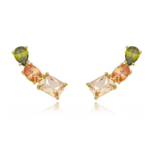 Brinco ear cuff tres pedras mix cores verde gold