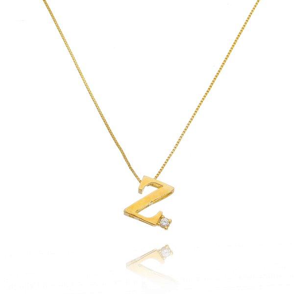 Colar letra Z folheado a ouro 18k