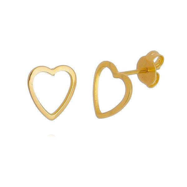 Brinco de Coração Vazado Folheado em Ouro 18k