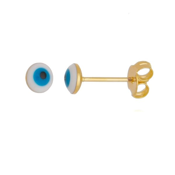 Brinco olho grego pequeno folheado em ouro 18k