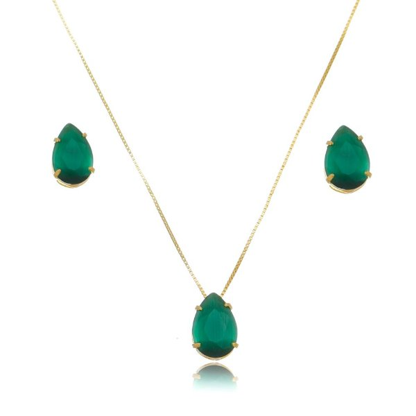 Conjunto colar e brinco verde folheado em ouro 18k