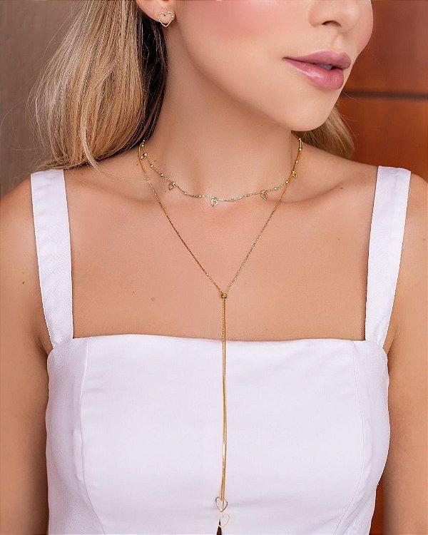 Mix de colares com colar gravatinha Folheado em Ouro 18k