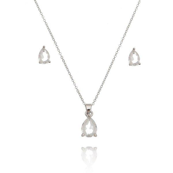 Conjunto colar e brinco gota cristal Ródio Branco