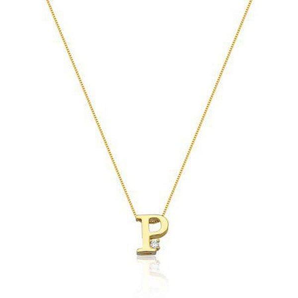 Colar letra P folheado em ouro 18 k