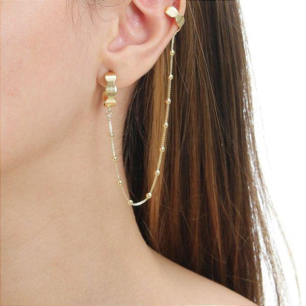 Piercing com corrente Folheado em Ouro 18k