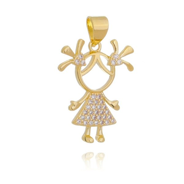 Pingente menina com zirconias cristais Folheado em ouro 18K