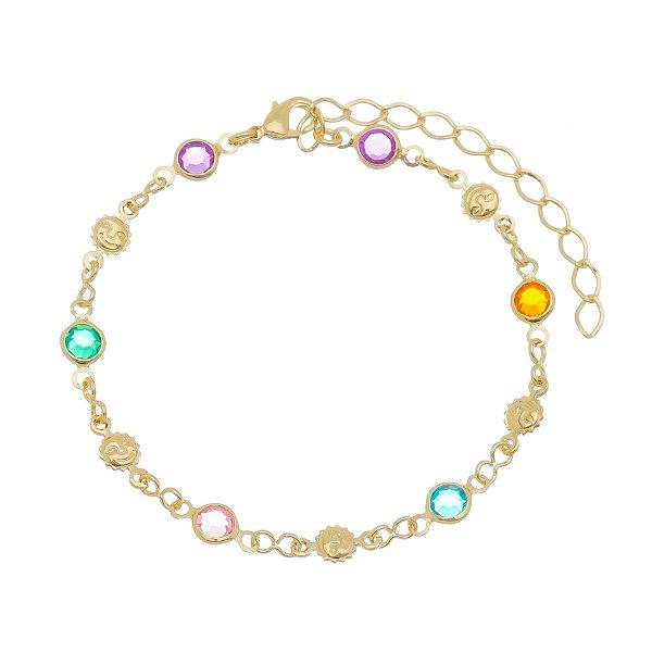 Pulseira dourada pedras coloridas Folheada Ouro 18k - Infantil
