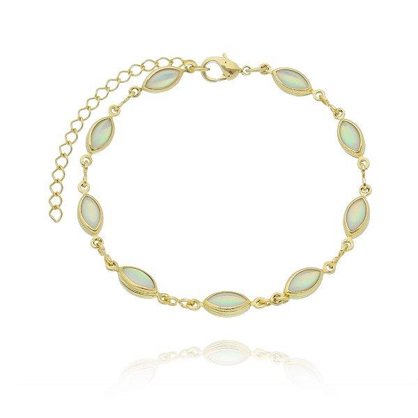 Pulseira dourada Opala Folheada Ouro 18k - Adulto