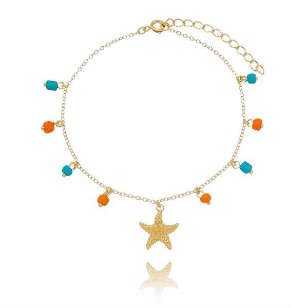 Tornozeleira Estrela do mar e miçangas folheada em ouro 18 k