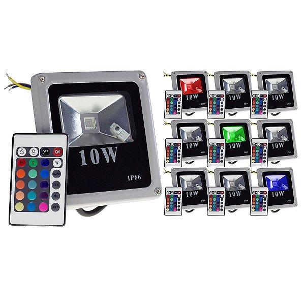 Produto Teste - Kit 10 Refletor Holofote Led 10w RGB IP66