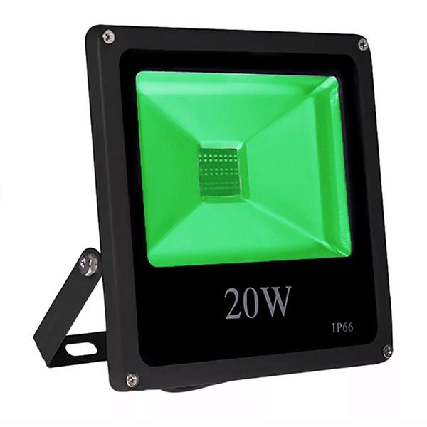 Kit 5 Refletor Led 20w Slim - Verde