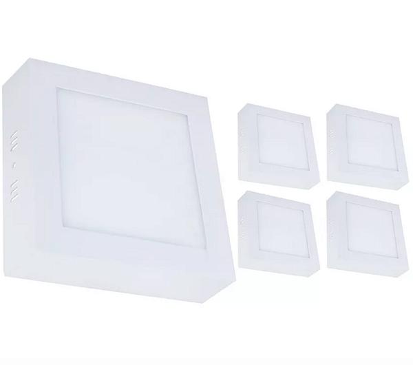 Kit 5 Plafon Led 12w Quadrado Sobrepor - Branco Quente