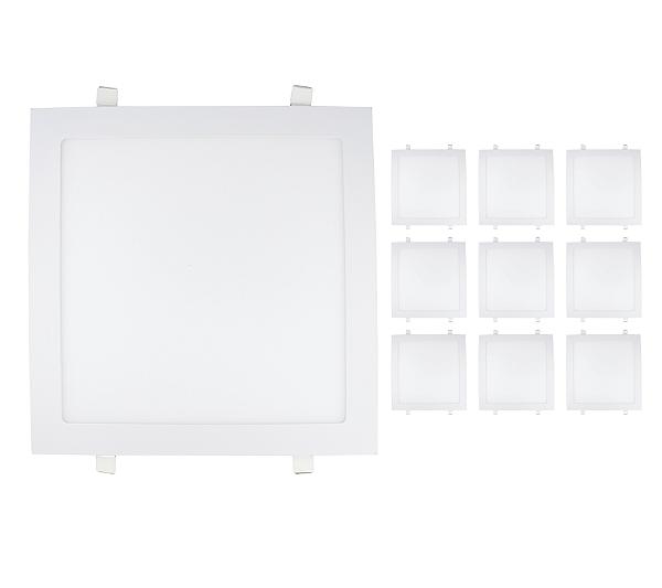 Kit 10 Painel Plafon Led Branco Quente 25w Quadrado Embutir