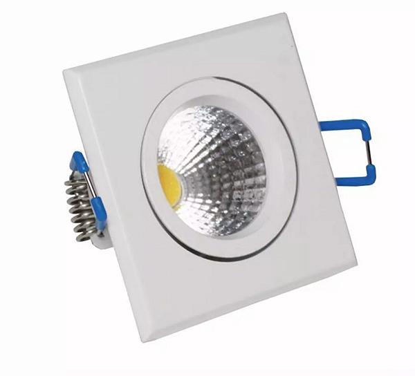Spot LED 3w COB Quadrado Carcaça Branca - Branco Frio