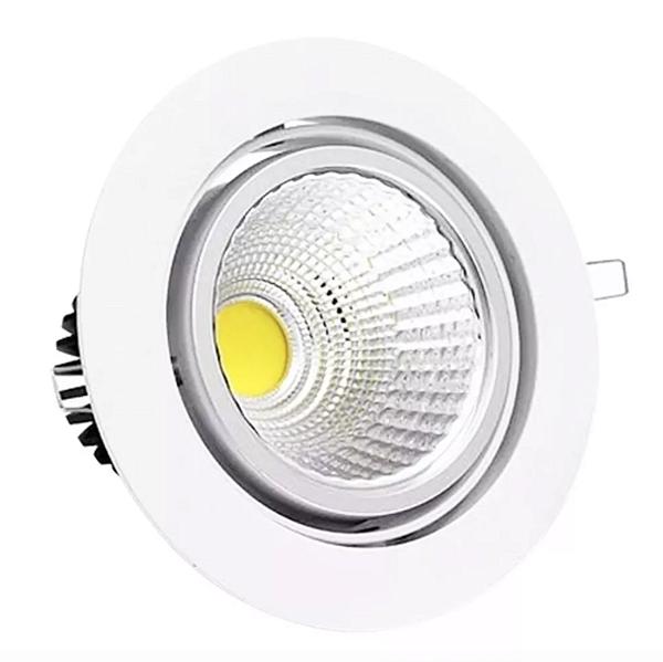 Spot LED 7W COB Redondo Carcaça Branca - Branco Frio