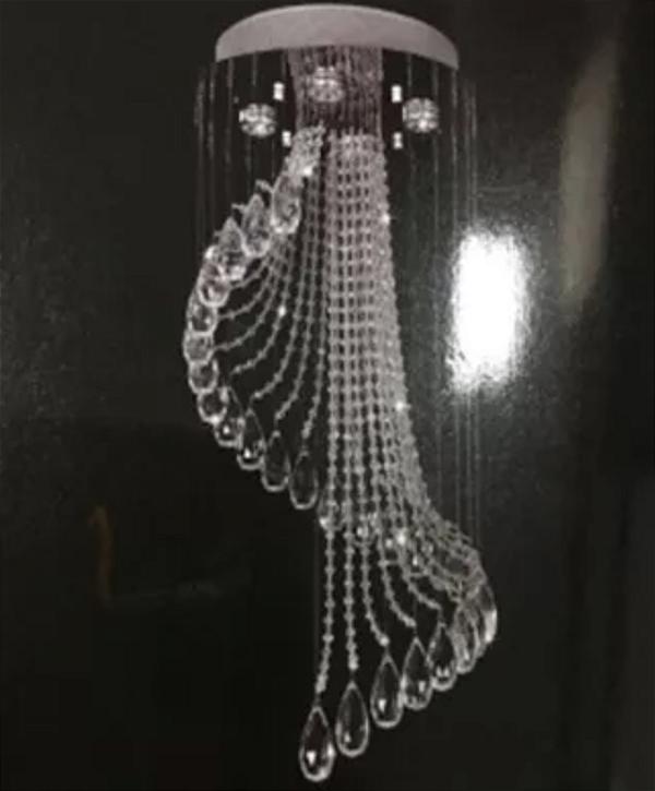 Lustre Luminária de Cristal Pendente Redondo 27x27x15cm