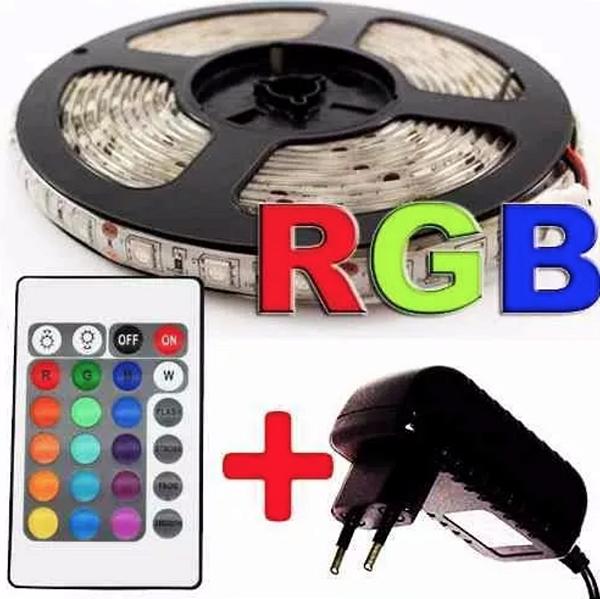 Fita de LED RGB 5050 5m Com Controle Fonte 3A