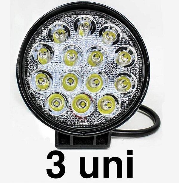 Kit 3 Farol de Milha LED Redondo Universal 48w 12v