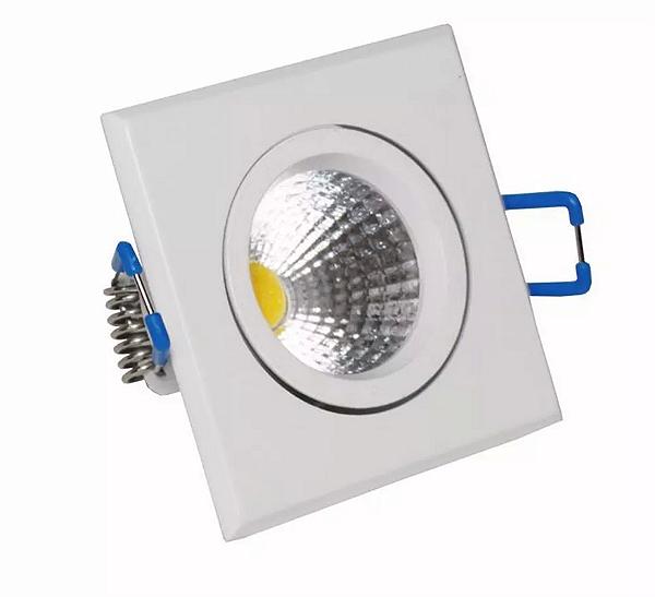 Kit 5 Spot 3w COB Quadrado - Branco Quente