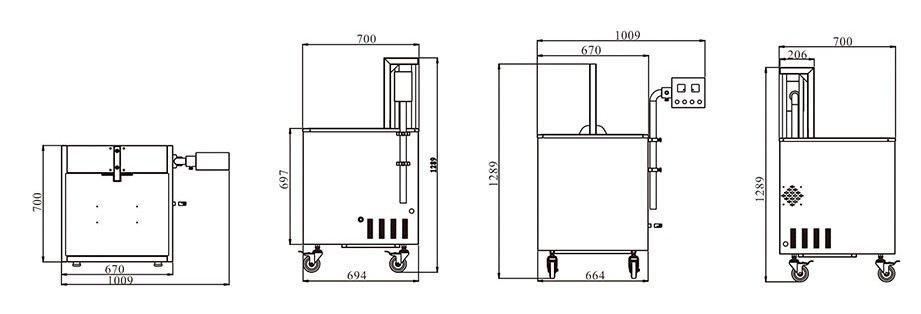 Desenho técnico com as dimensões do tanque de encolhimento