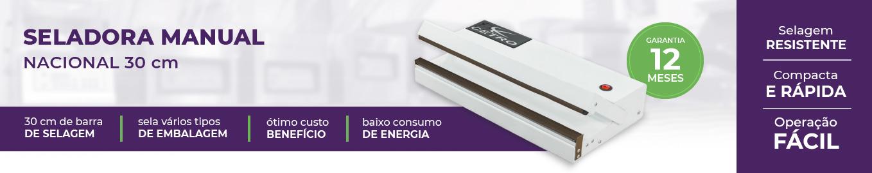 banner com uma foto, o nome e os diferenciais da seladora nacional de 30 centímetros