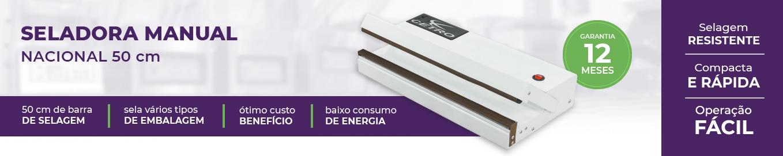 banner com uma foto, o nome e os diferenciais da seladora nacional de 50 centímetros