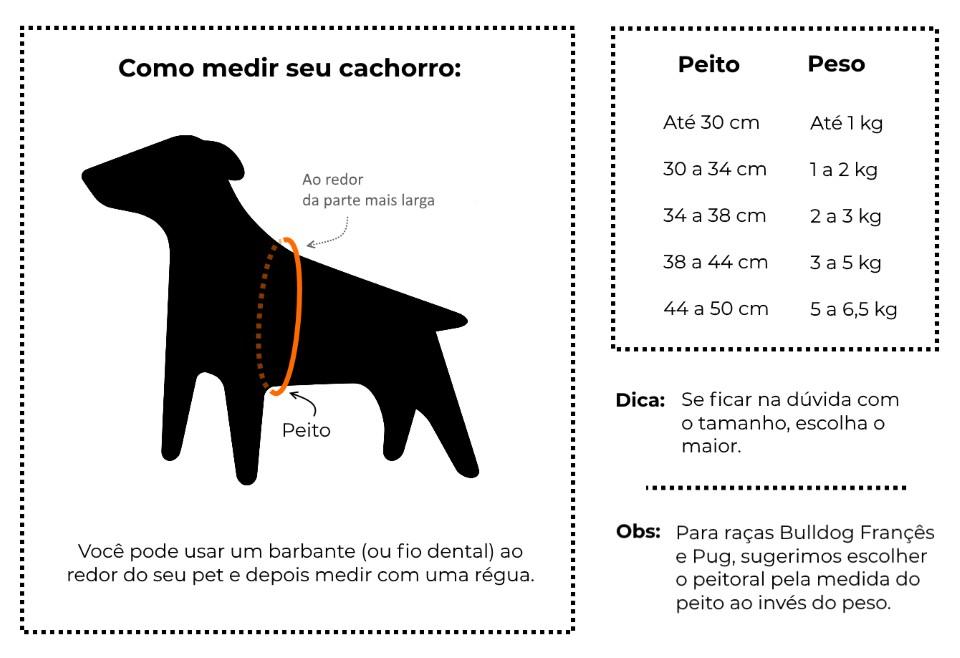 Tamanhos Peitoral Cachorro - Petzera