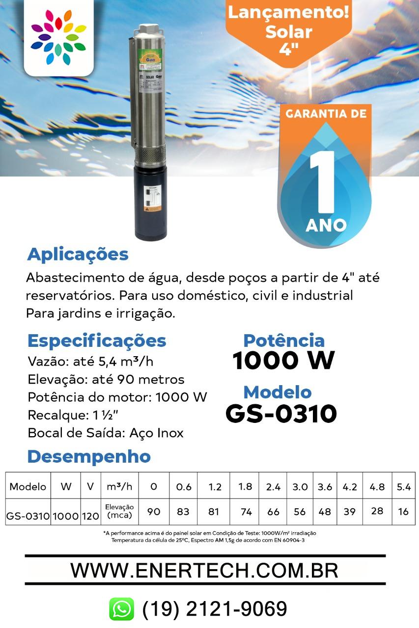 Kit Completo Bomba Solar Submersa 1.000 Watts C/ Placas Solares - Até 90  Metros - ENERTECH - Banho, Piscina, Motor, Bomba, Solar, Captação de Água e  Fotovoltaico