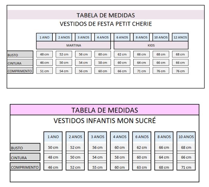 afbc435ec58 Tabela de Medidas - Amor Perfeito Kids
