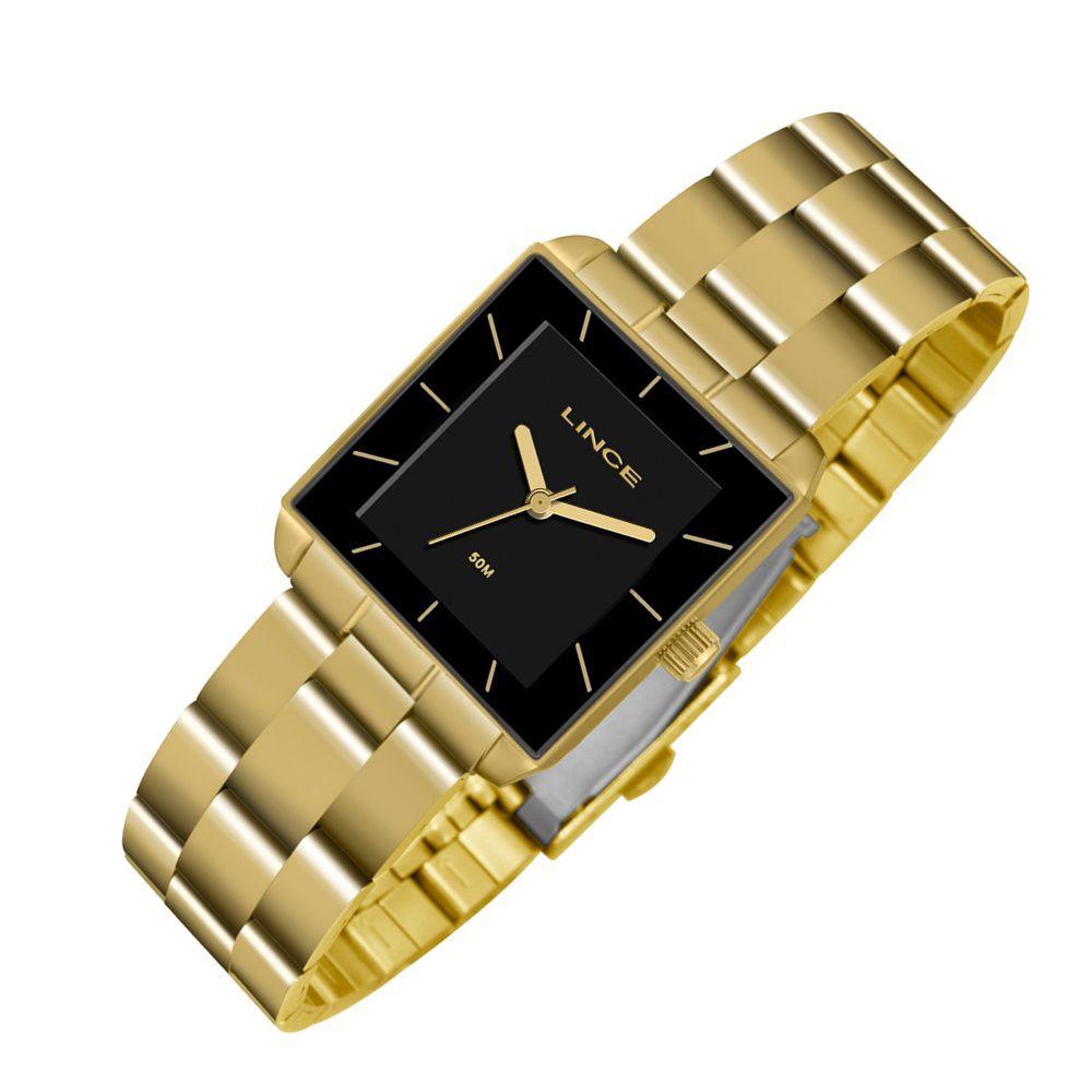 2a6cb3a1757 Relogio Feminino Quadrado Dourado Lince LQG4583L P1KX - Relojoaria Jabem