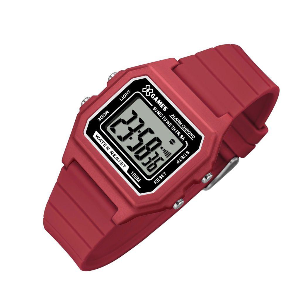 f1a4dc1d9f5 Relogio Feminino DIgital Quadrado Vermelho X-Games - Relojoaria Jabem