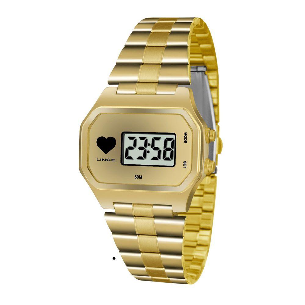 3657ae221fd Relogio Feminino Digital Quadrado Dourado SDG4480L BKKX - Relojoaria ...